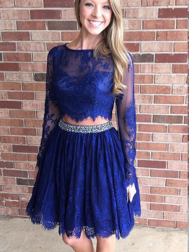 Two Piece Homecoming Dresses Aline Long Sleeve Short Prom Dress Lace Party Dress JK890|Annapromdress