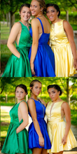 Cheap Homecoming Dresses A Line Royal Blue Short Prom Dress Yellow Party Dress JK892|Annapromdress
