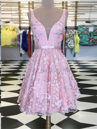 Lace Homecoming Dresses Aline with Straps Cute Short Prom Dress Pink Party Dress JK894|Annapromdress