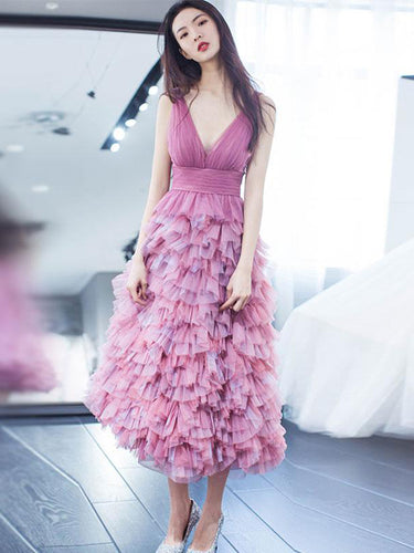 Long Homecoming Dresses A-line Ruffles Short Prom Dress Beautiful Party Dress JK896|Annapromdress