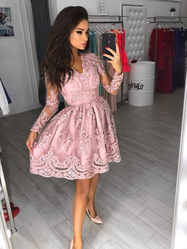 Long Sleeve Homecoming Dresses A Line V-neck Pink Short Prom Dress Lace Party Dress JK905|Annapromdress