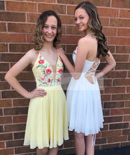 Cute Homecoming Dresses Aline Lace-up Embroidery Short Prom Dress Yellow Party Dress JK906|Annapromdress