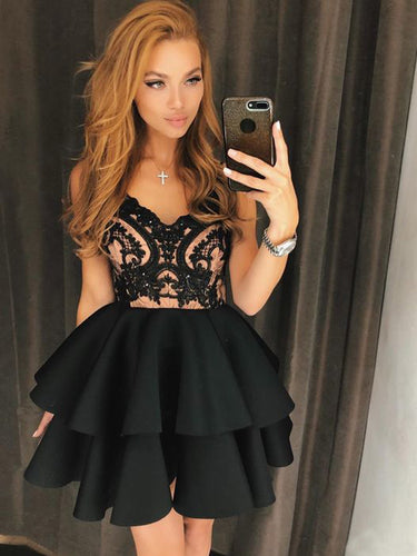 Little Black Dress Cheap Homecoming Dresses A-line Short Prom Dress Party Dress JK912|Annapromdress