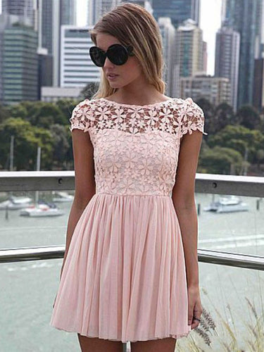 Chic Homecoming Dresses Bateau A Line Lace Open Back Short Prom Dress Fashion Party Dress JK920|Annapromdress