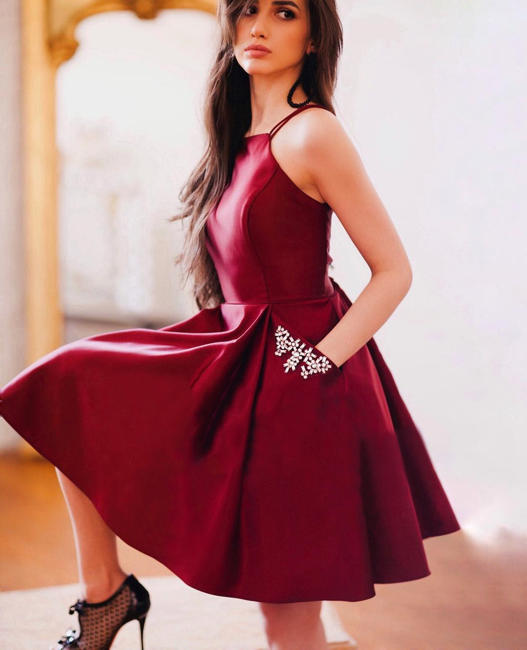 Burgundy Homecoming Dresses With Pockets A Line Short Prom Dress