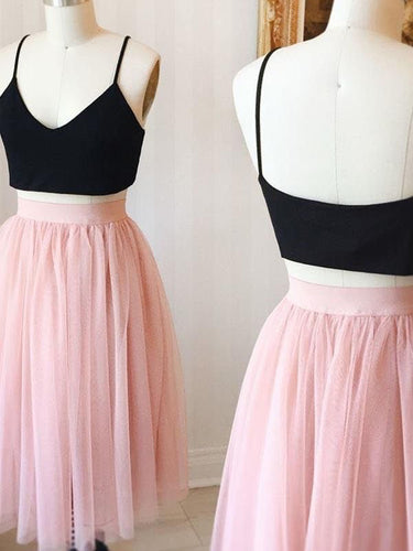 Two Piece Homecoming Dresses Aline Black and Pink Short Prom Dress Simple Party Dress JK922|Annapromdress