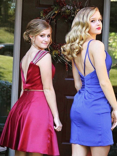 Royal Blue Homecoming Dresses Tight Slit Cheap Short Prom Dress Simple Party Dress JK924|Annapromdress