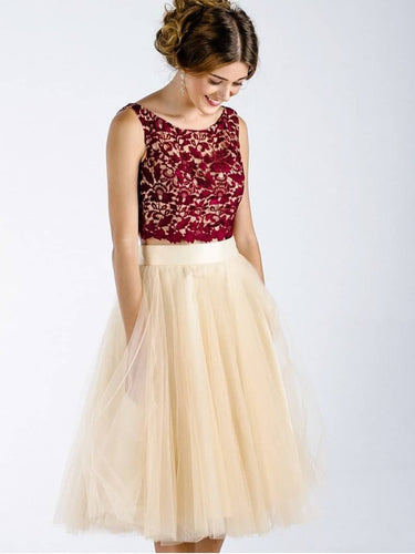 Two Piece Homecoming Dresses Burgundy Lace A-line Short Prom Dress Cute Party Dress JK926|Annapromdress