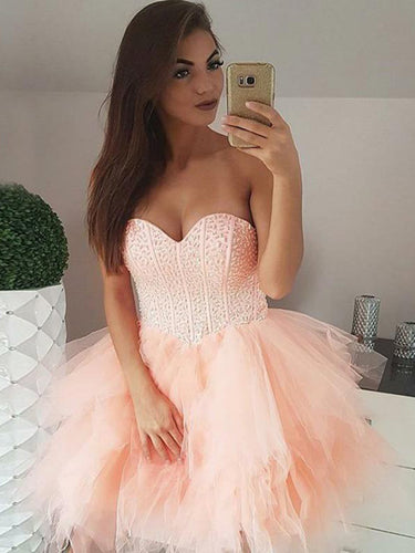 Chic Homecoming Dresses Sweetheart Beading Sparkly Short Prom Dress Tulle Party Dress JK928|Annapromdress