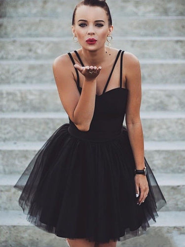 Little Black Dress Homecoming Dresses Aline Spaghetti Straps Short Prom Dress Party Dress JK931|Annapromdress