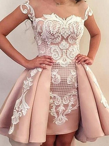 High Low Homecoming Dresses Appliques Sheath Sexy Short Prom Dress Fashion Party Dress JK933|Annapromdress