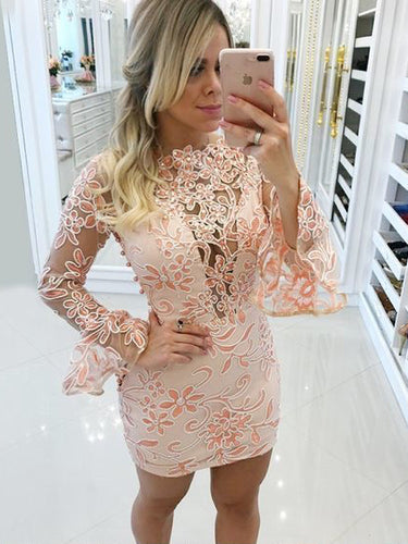 Long Sleeve Homecoming Dresses Sheath Lace Short Prom Dress Fashion Party Dress JK935|Annapromdress