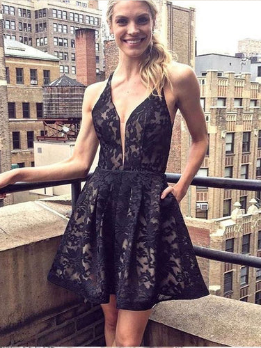 Little Black Dress Lace Homecoming Dresses Straps Open Back Short Prom Dress Party Dress JK937|Annapromdress