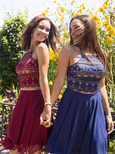 Two Piece Homecoming Dresses Spaghetti Straps Aline Short Prom Dress Lace Party Dress JK940|Annapromdress