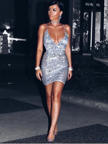 Sparkly Homecoming Dresses Spaghetti Straps Open Back Short Prom Dress Party Dress JK945|Annapromdress