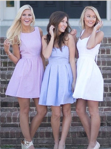 Simple Homecoming Dresses Open Back Cheap Short Prom Dress Lavender Party Dress JK946|Annapromdress