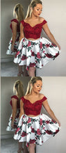 Two Piece Homecoming Dresses Aline Floral Print Short Prom Dress Lace Party Dress JK947