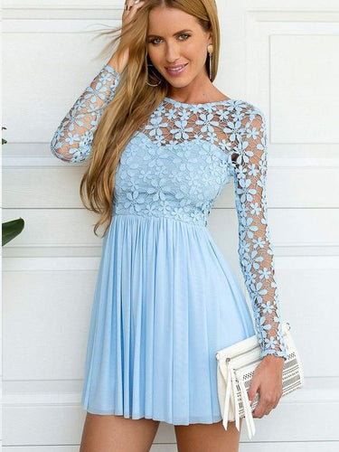 Cheap Homecoming Dresses A Line Long Sleeve Short Prom Dress Lace Party Dress JK951|Annapromdress