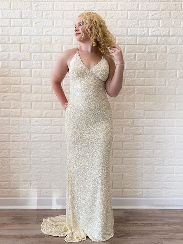 Champagne Sequin Sheath/Column Prom Dress Chic Halter V-Neck JKA011