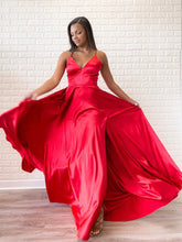 Simple Red Satin Halter V-Neck A-Line Sweep Train Long Prom Dress JKA012