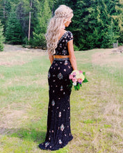 Unique Colorful Beaded Cap Sleeve V-Neck Two Piece Prom Dress JKA017