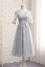 Bridesmaid Dresses Tulle Appliques Silver Bridesmaid Dresses #JKB003