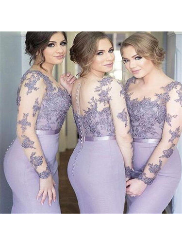 Bridesmaid Dresses Lilac Sexy Long Sleeve Long Bridesmaid Dresses #JKB006