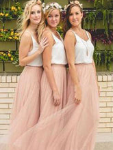 Bridesmaid Dresses Pink Tulle Cheap Scoop Long Bridesmaid Dresses #JKB007