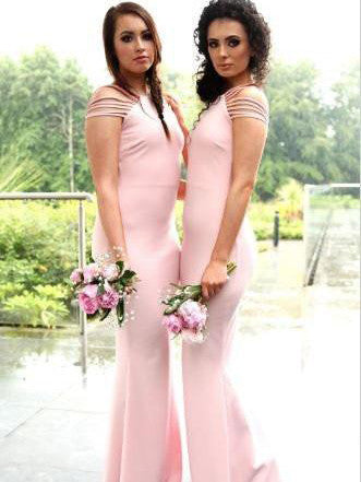 Bridesmaid Dresses Sheath/Column Off-the-shoulder Bridesmaid Dresses #JKB008