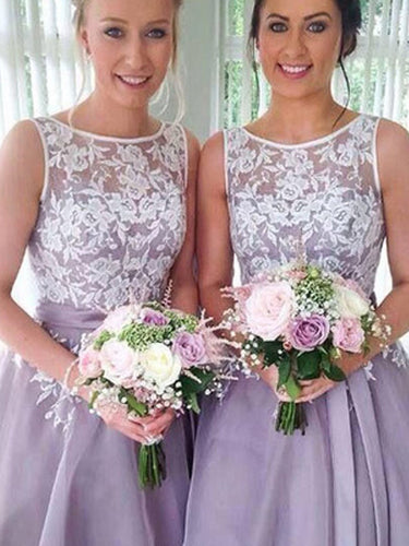 Bridesmaid Dresses Organza Blue Lilac Short Lace Bridesmaid Dresses #JKB012