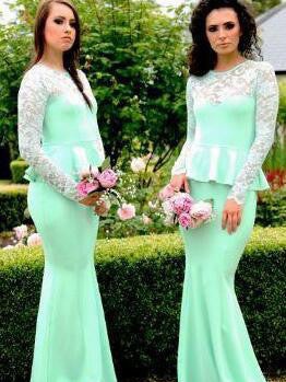 Bridesmaid Dresses Lace Long Sleeve Sage Mermaid Bridesmaid Dresses #JKB013