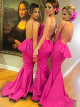 Bridesmaid Dresses Backless Sexy Fuchsia Mermaid Bridesmaid Dresses #JKB014
