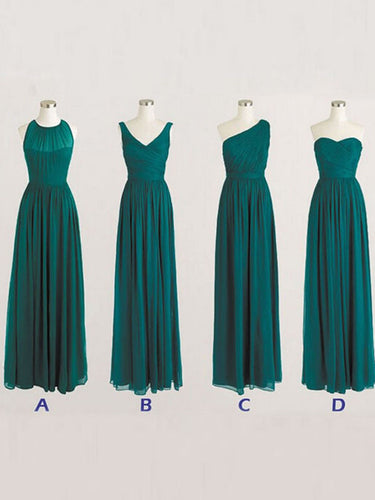 Bridesmaid Dresses Simple Long Dark Green Bridesmaid Dresses #JKB015