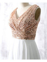 Bridesmaid Dresses Sequins V-neck Long Ivory Bridesmaid Dresses #JKB016