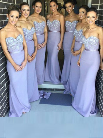 Sexy Bridesmaid Dresses Sheath/Column Sweetheart Long Bridesmaid Dresses JKB017