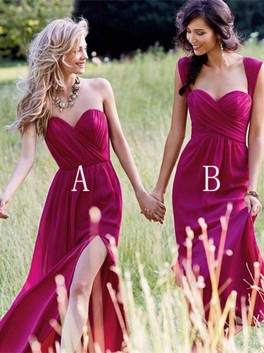 Cheap Bridesmaid Dresses Chiffon A-line Sexy Silt Fuchsia Bridesmaid Dresses JKB020