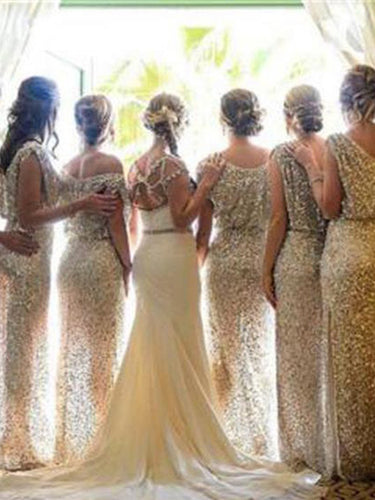 Long Bridesmaid Dresses Gold Sexy Sheath/Column Sequins Bridesmaid Dresses JKB021