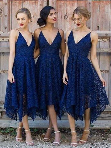 Short Bridesmaid Dresses Dark Navy Spaghetti Straps Sexy Bridesmaid Dresses JKB024