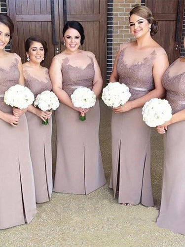 Sexy Bridesmaid Dresses Sheath/Column Scoop Appliques Bridesmaid Dresses JKB025