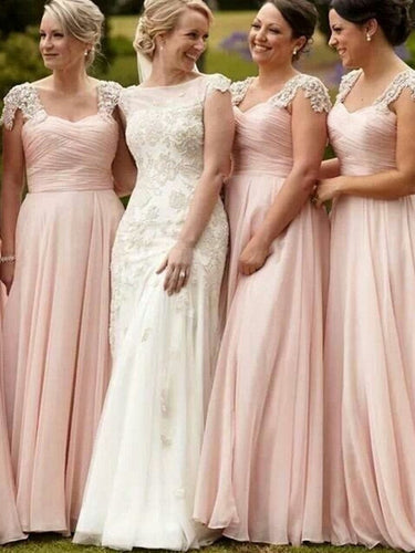 Chic Bridesmaid Dresses A-line V-neck Pearl Pink Long Bridesmaid Dresses JKB026