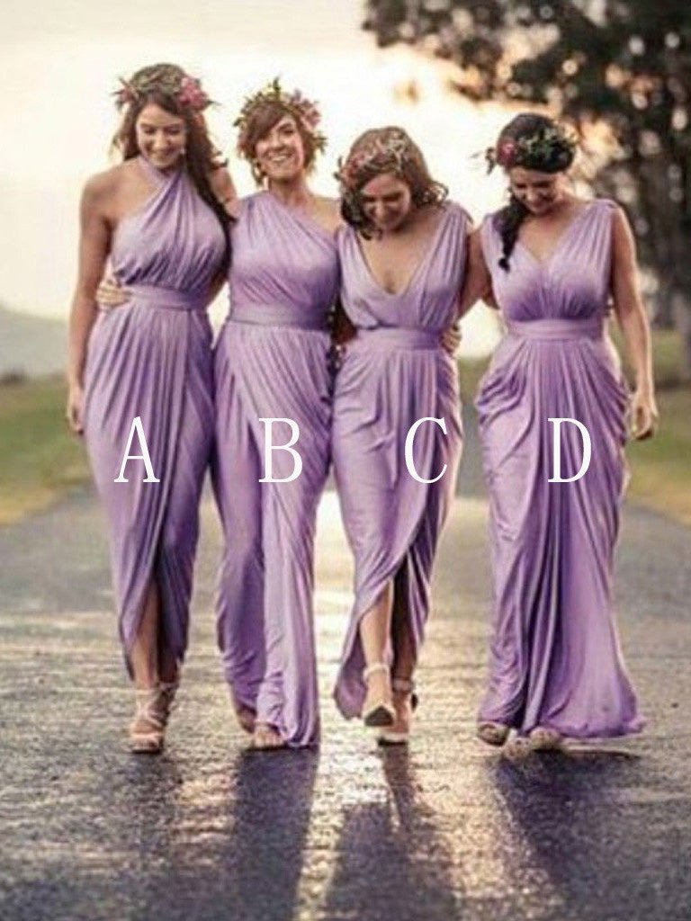 Long Bridesmaid Dresses Sheath/Column Sexy Lilac Bridesmaid Dresses JKB028