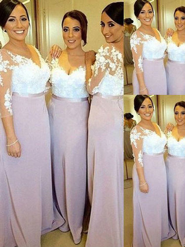 Long Bridesmaid Dresses Sheath/Column 3/4-Length Sexy Bridesmaid Dresses JKB029