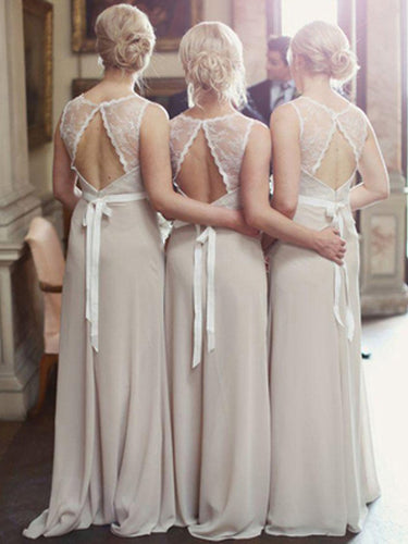 Long Bridesmaid Dresses A-line Scoop Floor-length Lace Bridesmaid Dresses JKB030
