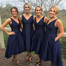 High-Low Bridesmaid Dresses Dark Navy Sexy A-line Satin Asymmetrical Bridesmaid Dresses JKB038