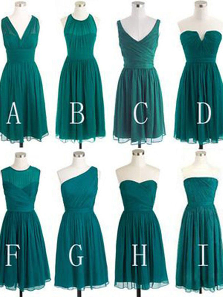 Short Bridesmaid Dresses Dark Green V-neck Sweetheart Chiffon Bridesmaid Dresses JKB040