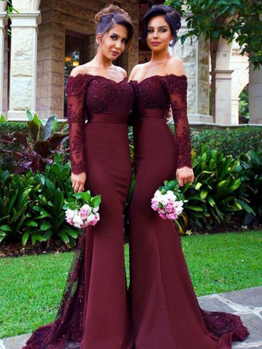 Sexy Bridesmaid Dresses Sheath/Column Burgundy Satin Long Bridesmaid Dresses JKB041