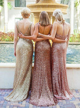 Chic Bridesmaid Dresses Sequins Gold V-neck Halter Sexy Long Bridesmaid Dresses JKB042