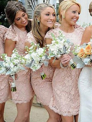Sexy Bridesmaid Dresses Scoop Tulle Lace Pink Short Bridesmaid Dresses JKB043