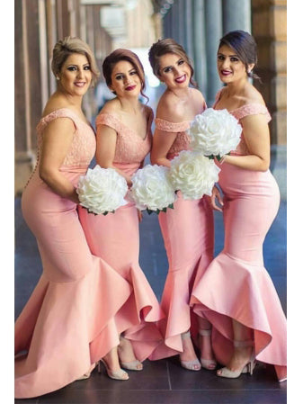 Sexy Bridesmaid Dresses Trumpet/Mermaid Off-the-shoulder Long Bridesmaid Dresses JKB046