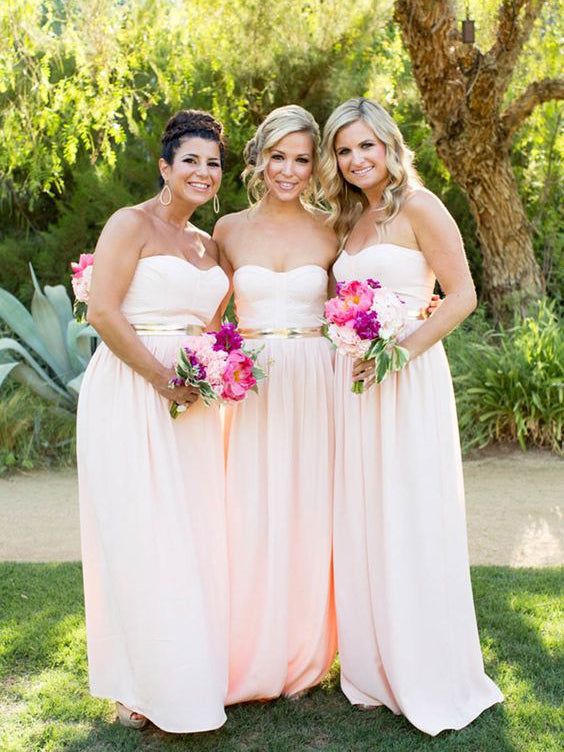 Cheap Bridesmaid Dresses Sweetheart Pearl Pink A-line Floor-length Bridesmaid Dresses JKB047